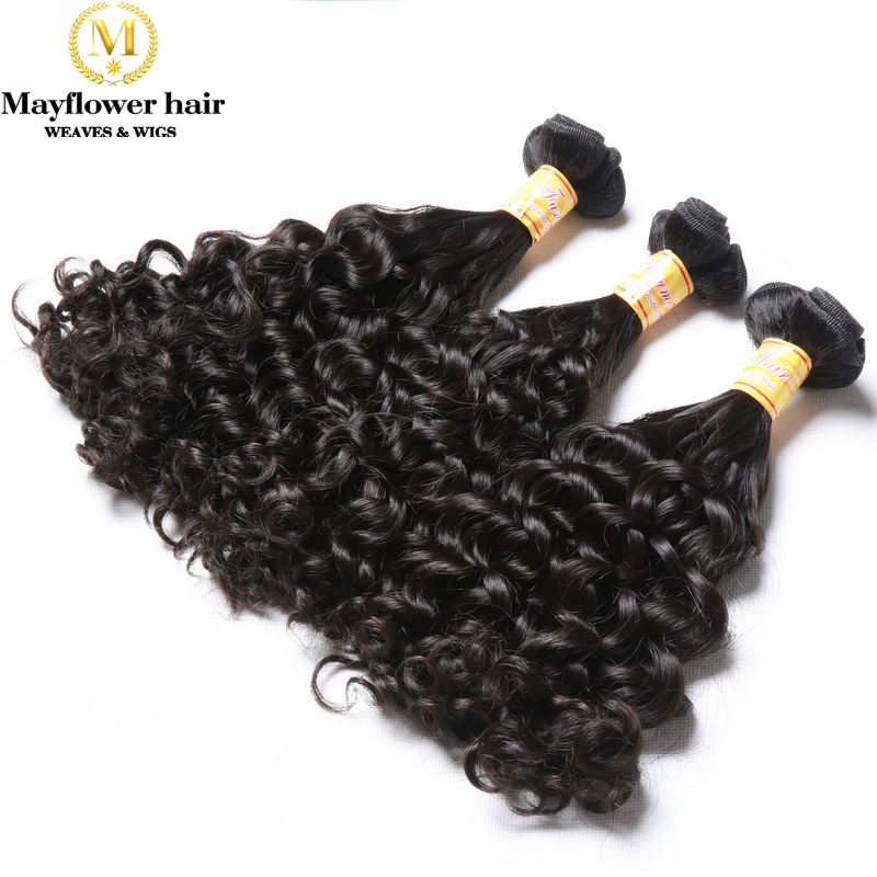 "Mayflower Double Drawn Funmi Hair Amazing Curl 8-18"" Mixed Length 1/2/3/4 Bundles Remy Hair Weft No Short Hair Natural Black"