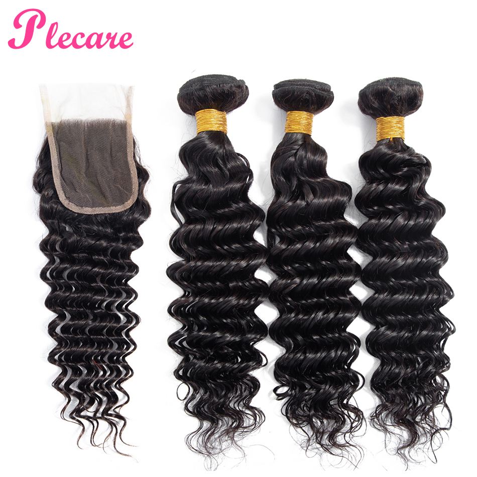 Plecare 100 Human Hair Weave Bundles With Closure Deep Wave Bundles With Closure Peruvian 3 Bundles