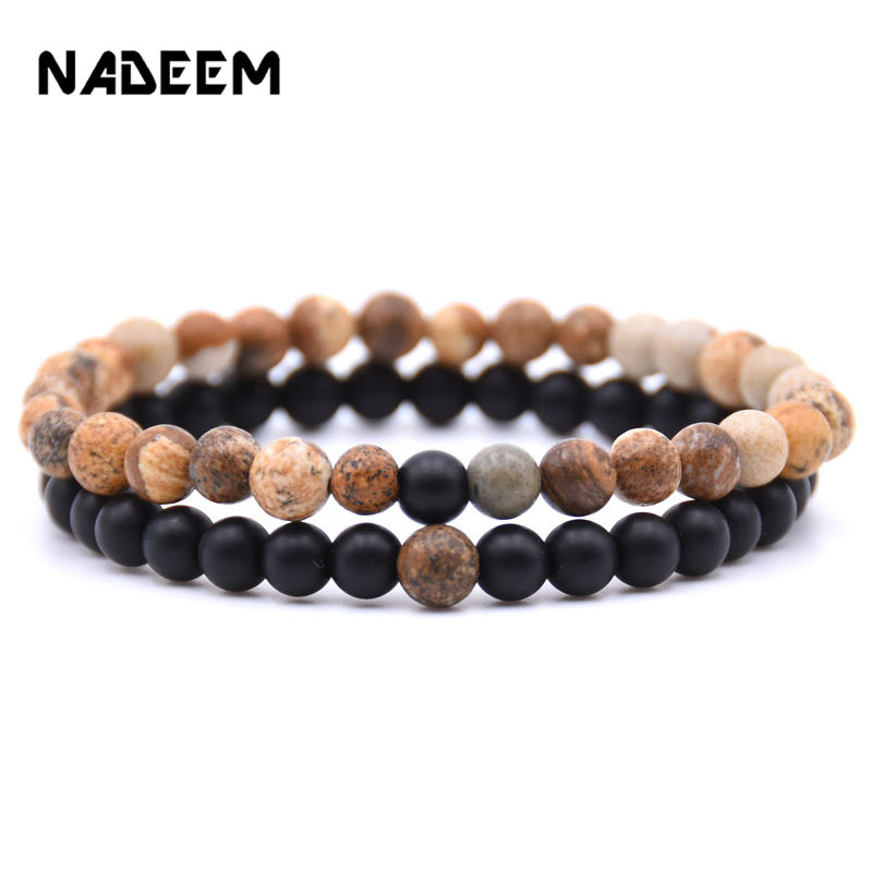 2Pcs/Lot Couple Lover Natural Stone Bracelet Set Women Men Fashion 6mm Mala Beads Bracelet Sets Jewelry Gift For Him Her Pulsera