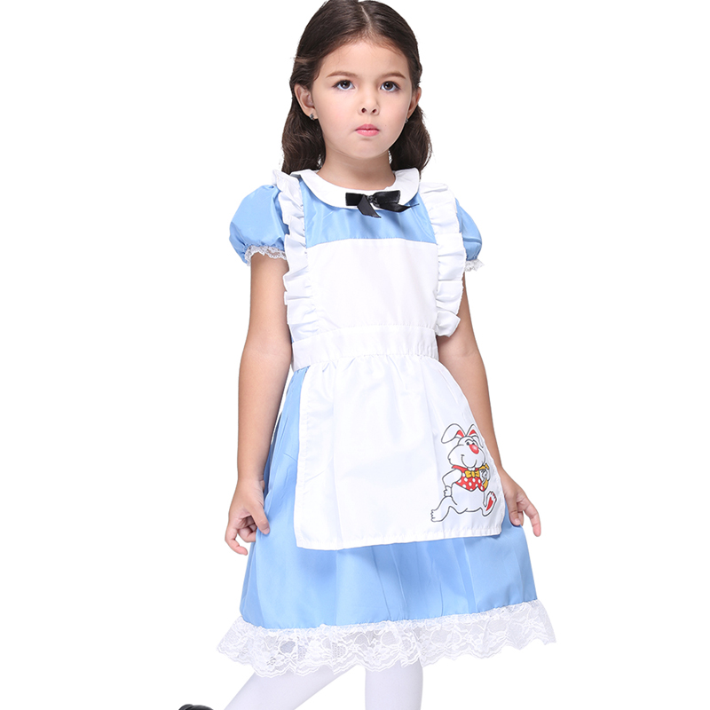 Girls Clothing Halloween Costume For Girls Apron Cosplay Performance Party Fancy Costumes Blue Print Princess Children Dress