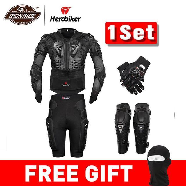 新モトモトクロスレーシングオートバイのボディアーマー保護ギアオートバイのジャケット + ショーツパンツ + 保護膝パッド + 手袋ガード