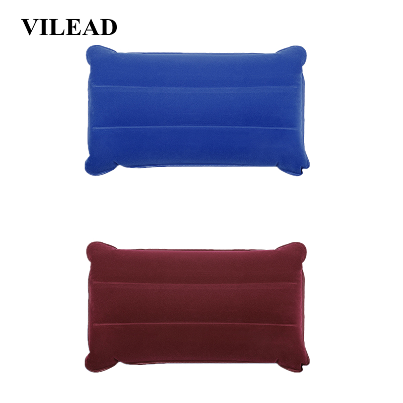 VILEAD Portable Camping Pillow 46*25 cm Outdoor Hiking Travel Inflatable Cushion Plane Beach Sleep Ultralight Soft Camping Mat-in Camping Pillows from Sports & Entertainment