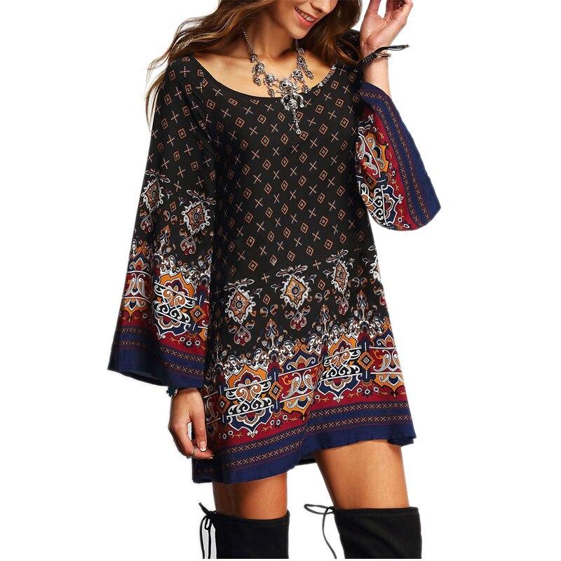 2017 New Arrival Vintage Summer Dress Floral Print Black Long Sleeve Knee-Length  Plus Size Boho Maxi Women Loose Embroidery Dre