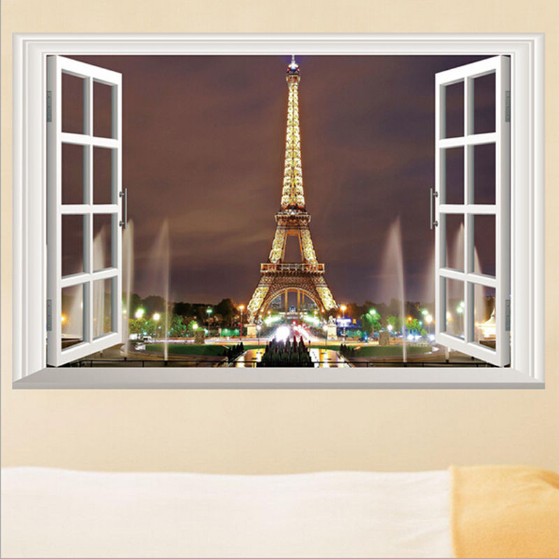 fb3ea843e50 Detail Feedback Questions about 3D Window Paris Eiffel Tower Wall ...