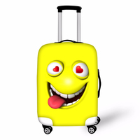 Customized Image Funny 3D Emoji Print Luggage Elastic Cover Protector Travel on Road Yellow Green Suitcase Cover 28 inch Cases