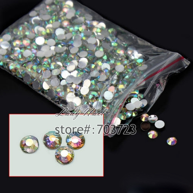 1000pcs 3D Nail Art Tips SS6 2mm Resin Flat back Rhinestone Beads not hotfix for DIY Nails Art Phone Case AB clear  N22