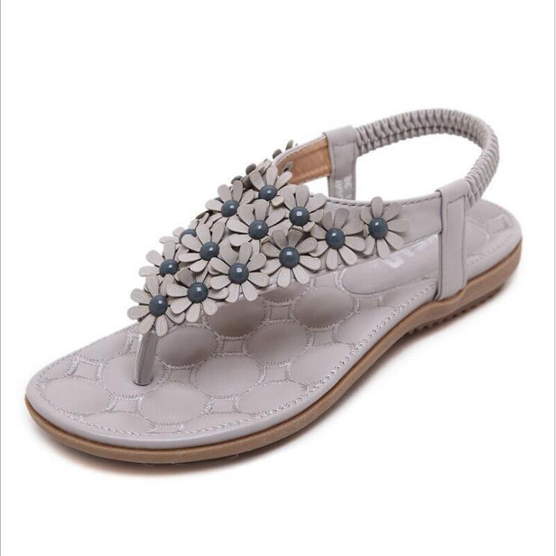 POADISFOO 2017 new summer bohemian Style flowers beads sandals slippers shoes large size women comfy shoes