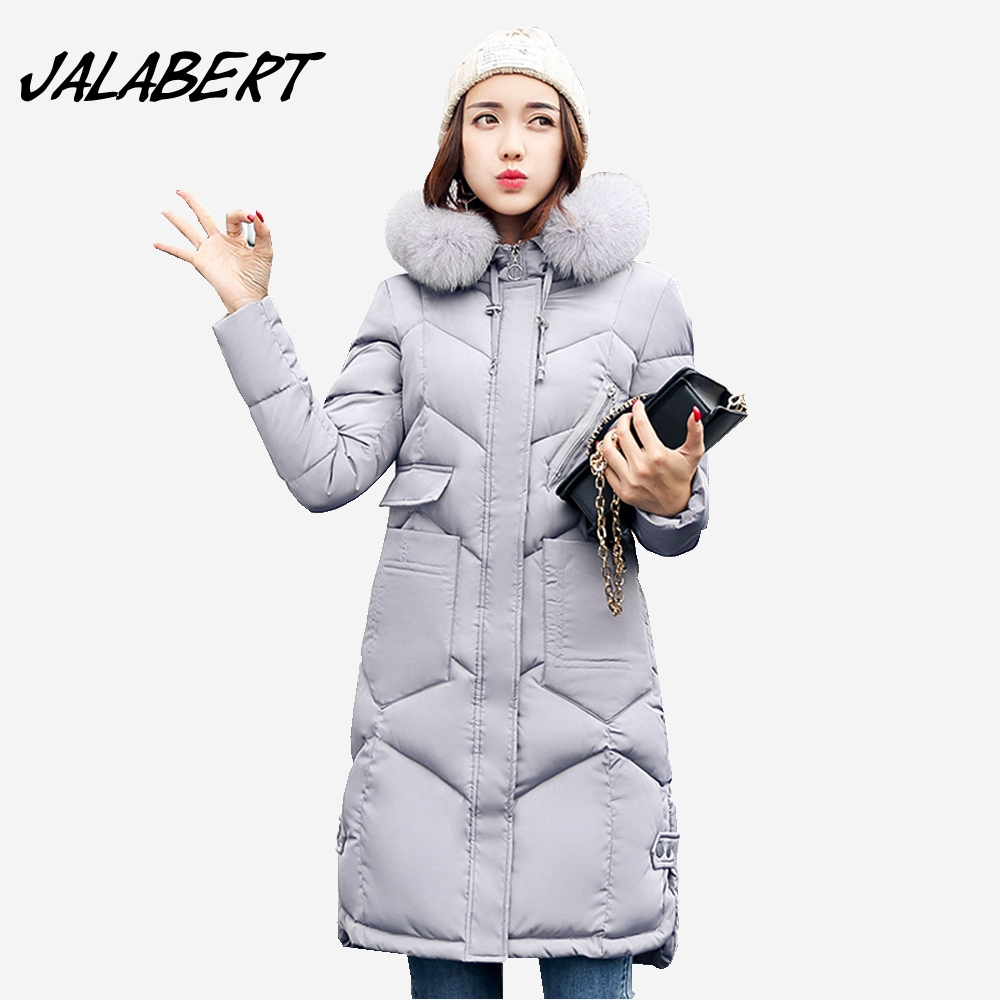2017 winter new women long Hooded Slim big Fur collar thick full cotton jacket large size female pocket warm parkas coat 2017 winter new cotton coat women slim long hooded thick jacket female fashion warm big fur collar solid hem bifurcation parkas