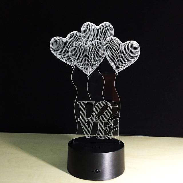 Lampe led coeur Ballons Capteur LED 3D Night Light 3D Couleur Romantique 4