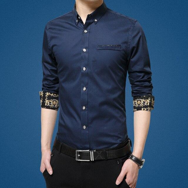 2016 Новый Мужчины Рубашка Весна С Длинными Рукавами Рубашки Хлопка случайные Молодой Корейской Моды Бизнес Мужчины Рубашка 7 цвета Мужчины одежда