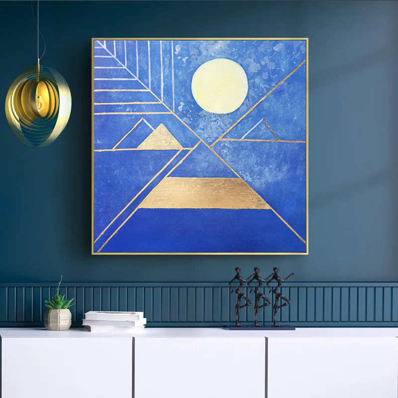 Geometric Goldleaf Abstract acrylic painting blue gold texture full moon on canvas Wall Art for living room home cuadro quadros