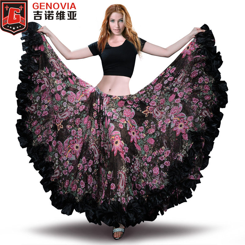 2019 Belly Dance Chiffon Tribal Bohemia Gypsy 25 yard 720 Lång kjol Flamenco kjol Belly Dance Gypsy Tribal ATS kjol