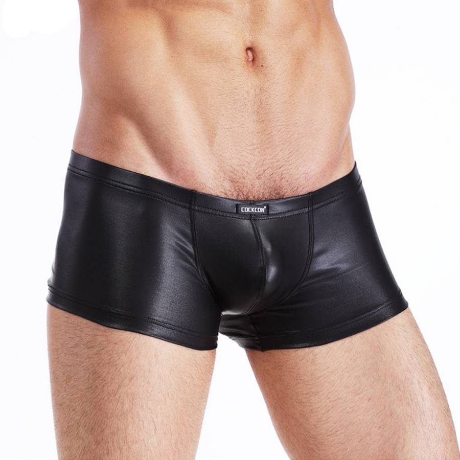 Cockcon Brand Leather Underwear Men Sexy Nylon Spandex Penis Pouch  Cock Men's Boxer Shorts Black Low Rise Mens Lingerie Panties