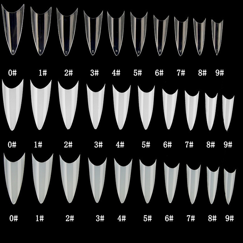 500pcs False Nail Tips With 10 Sizes Nail Tips Stiletto French Acrylic False Nails ABS  Tips Artificial 0 -9 Sizes Nail Art Tips