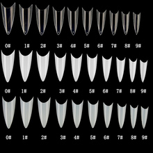500pcs False nail tips with 10 sizes Nail Tips Stiletto French Acrylic Nails ABS  Artificial 0 -9 Art