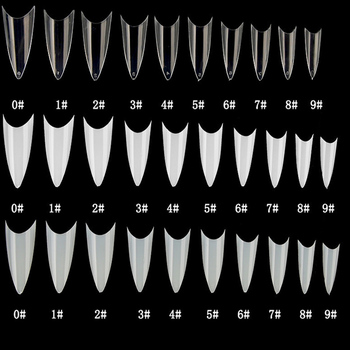 500pcs False nail tips with 10 sizes Nail Tips Stiletto French Acrylic False Nails ABS  Tips Artificial 0 -9 sizes Nail Art Tips False Nails