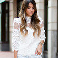 Verano de las mujeres de manga larga de encaje blusa elegantes camisas de cuello alto Ver A Través de blusas blancas les femme blusa de dentelle