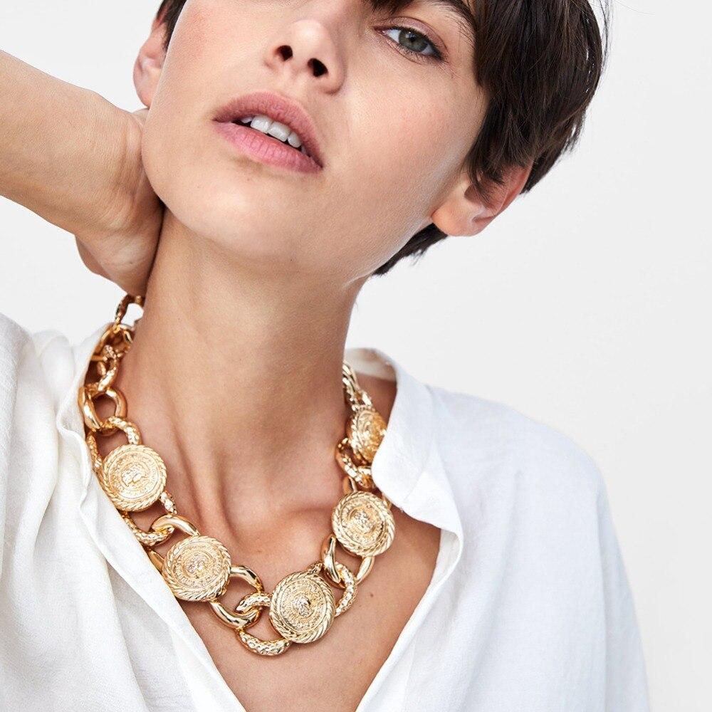 Vedawas ZA Gold Farbe Maxi Metall Link Halskette Für Frauen Trendy Metall Halsketten Weihnachten Party Schmuck Zubehör x3