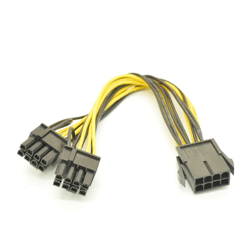 For CPU 8Pin to Graphics Video Card Double PCI-E PCIe Power Supply Splitter Cable A8 8pin to graphics video card double pci e 8pin 6pin 2pin splitter cable power supply cable for connecting to video cards 30cm
