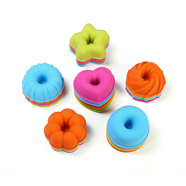 12 PCS/Lot Pumpkin Round Shape 3D Cake Cup Silicone 36pcs Muffin Cupcake Mold 24pcs Doughnuts Pans Baking Tools For Bakeware 5