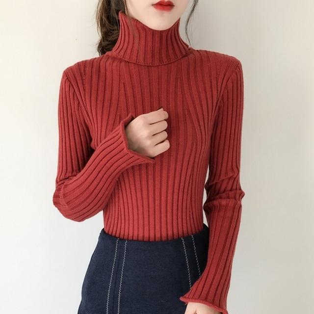 High Neck Sweater Pullovers Female 2018 Autumn Winter Fashion Long Sleeve  Split Cuff Thick Warm Jumper c50556b1a