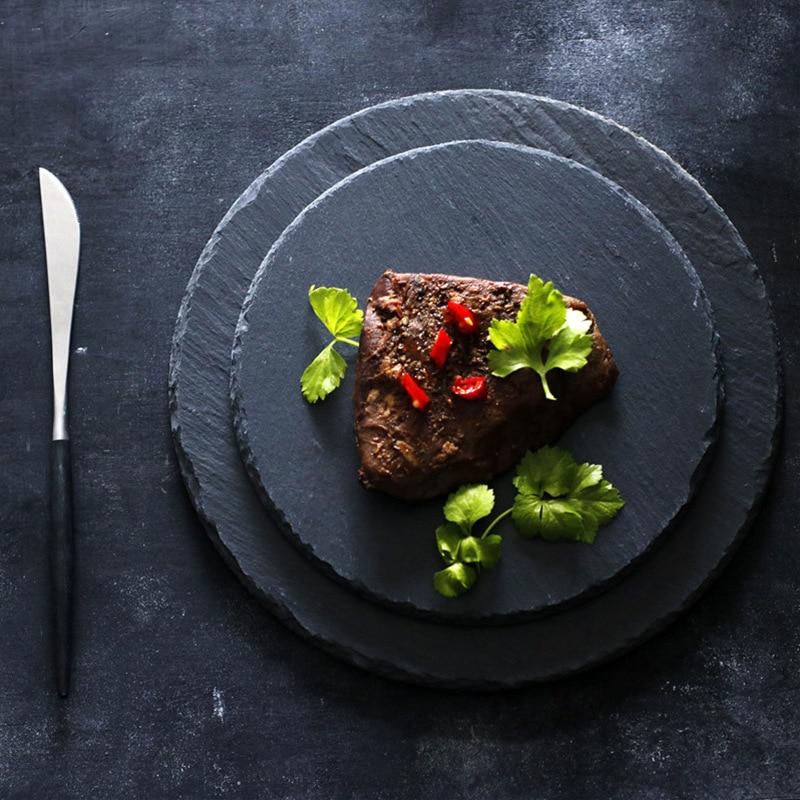 Black Texture Matte Premium Natural Rock Stone Dish Serving Dinner Plates Steak Cheese Pizza Fruit Tray Photo Props Dinnerware