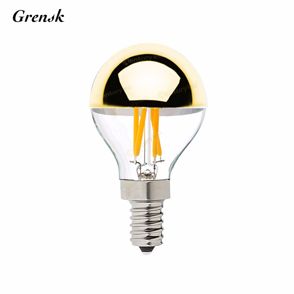 Gold Mirror,G45 Globe LED Filament Bulb,4W,E12 E14 Base,Warm white 2700K,Decorative Lighting for home,Dimmable