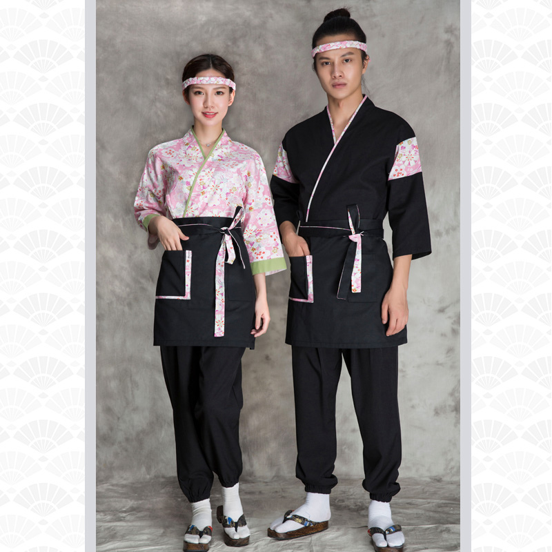 2019 Summer Unisex Japanese Food Service Clothing Sushi Chef Embroidered Apron Chef Work Uniform Designed Japanese Kimono Apron