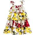Girl Dress Summer 2016 Floral Print Kids Dresses for Girls Clothes Robe Fille Enfant Brand Cotton Layered Princess Dress Girl