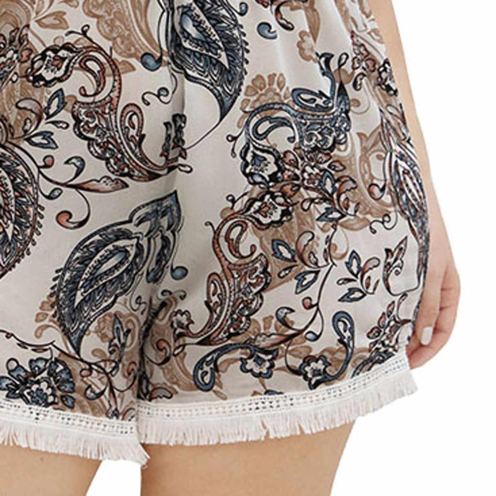 Женские комбинезоны размера плюс, комбинезон с вырезом лодочкой и кисточками, широкие штанины, шорты с принтом, сексуальный комбинезон, летние короткие комбинезоны для женщин