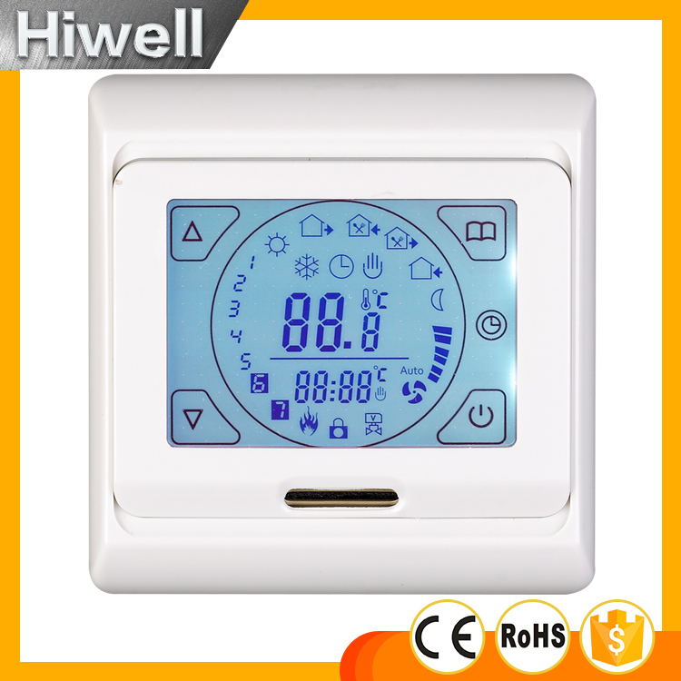 touch screen floor heating room thermostat white backlight  M9.716 CE RoHS  SWITCH digital touch screen thermostat lcd programmable thermostat temperature controller switch room floor heating thermostat home use