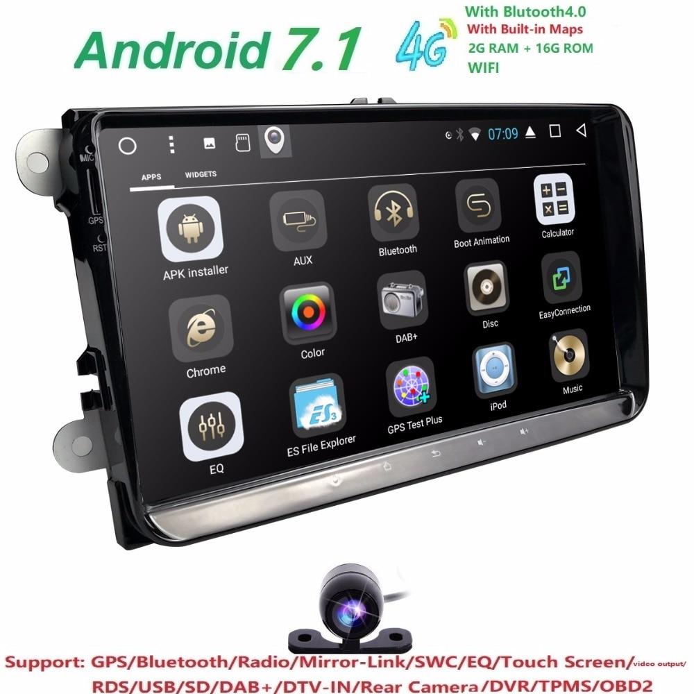 Hizpo 2din android 7.1 2 + 16 auto NOdvd b6 golfi jaoks 4 5 tiguan - Autode Elektroonika - Foto 2