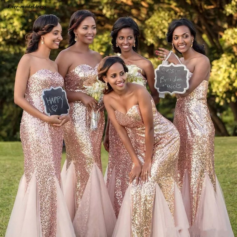 Long Black Girls Sheath   Bridesmaid     Dresses   2019 Strapless Sequins Sleeveless Floor Length Formal Wedding Guest Party Gowns