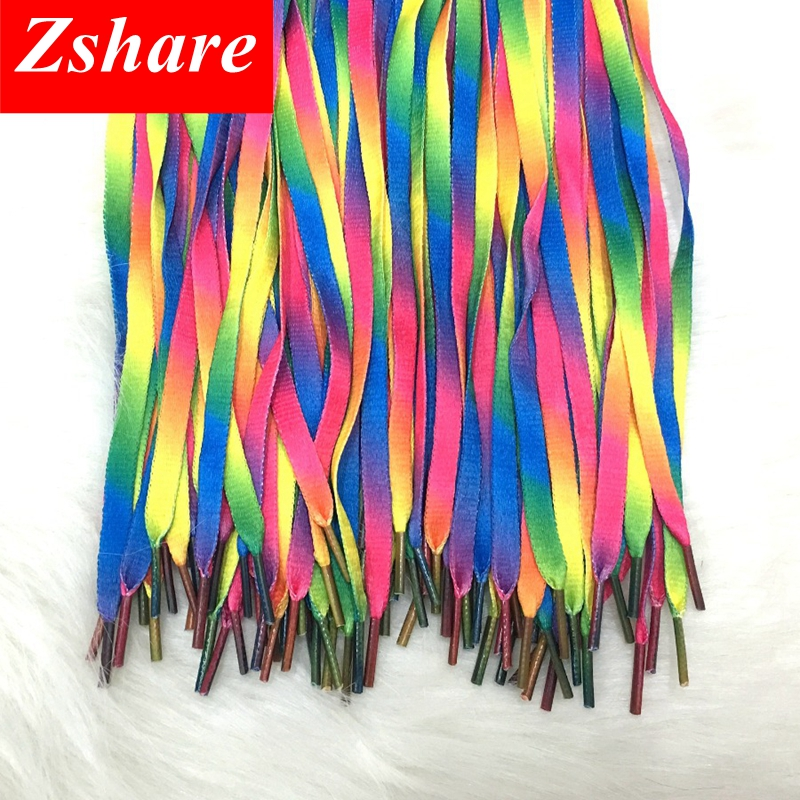 100 Pair Colorful ShoeLaces Rainbow Gradient Print Flat Canvas Shoe Lace Shoes Casual Chromatic Colour Shoelaces
