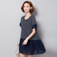 5xl plus big size women clothing 2017 spring summer style korean vestidos new stripe stitch pleate cute sweet dress female A3821