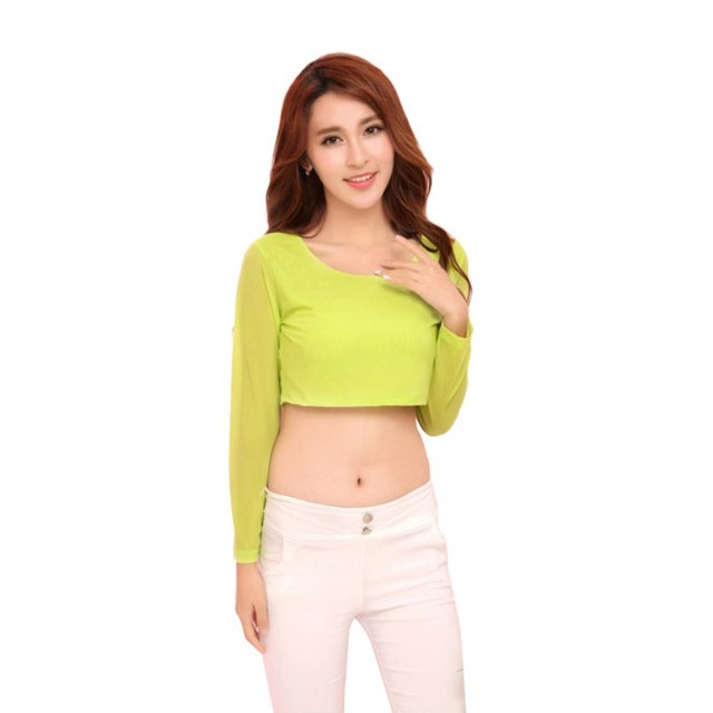 c9c9aa0c665 KL982Women Sexy Mince Semi-transparent Mesh Crop Tops Fille Manches Longues  Courtes T-Shirts