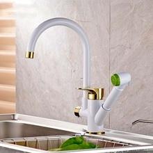 Живопись поворотный излив сосуд раковина кран с выдвижным душем горячей холодной воды клапан для кухни torneira cozinha