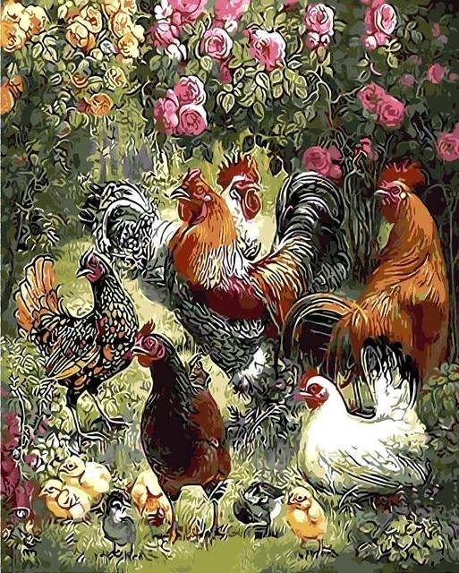 Bunga Dan Taman Ayam Hewan Lukisan Minyak Gambar Dengan Nomor