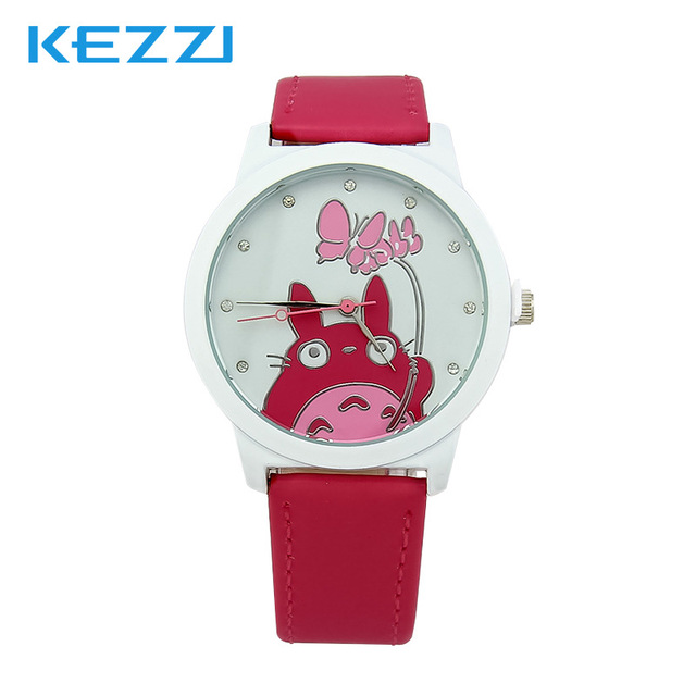 Lovely Watch Christmas Gifts for Children's Wrist Watch Analog Quartz Watches Kids Watches Cute Cat Cartoon Yellow Leather