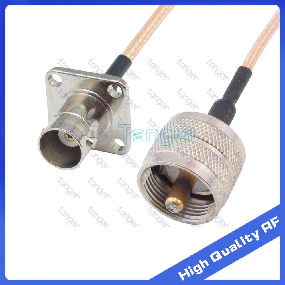 BNC female jack 4four hole panel to UHF male plug PL259 straight 20cm 8inch RG316 RF Coaxial Pigtail Low Loss cable High Quality русский гамак rg 20 материал канвас полоска 4