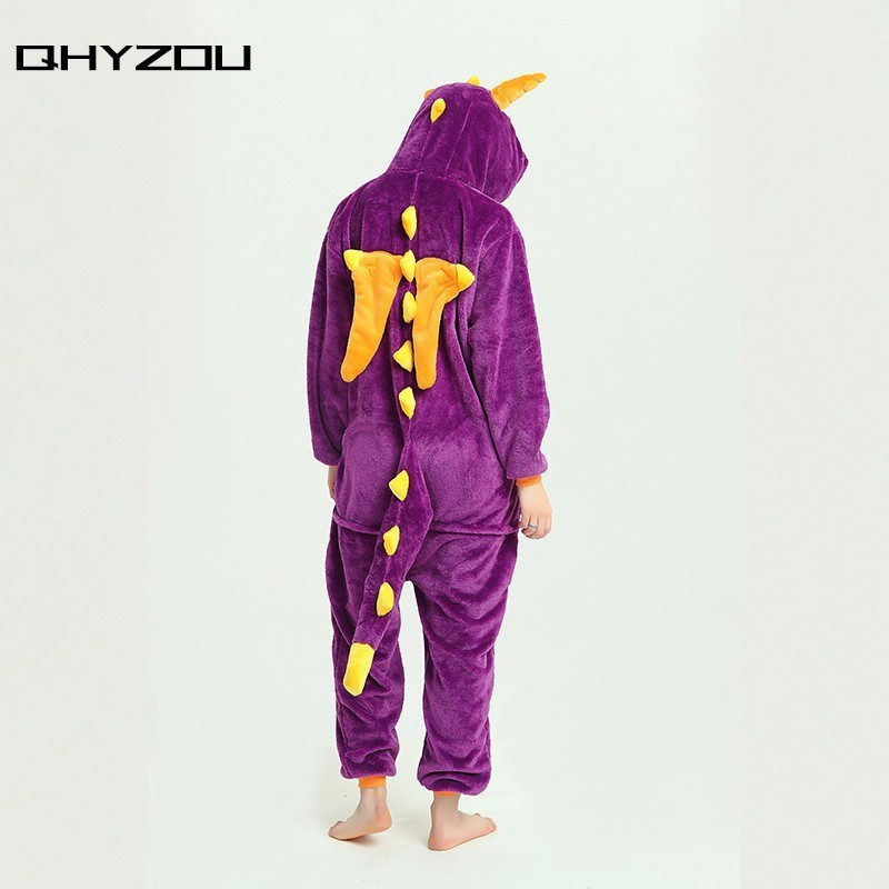 Creative design Hot Unisex Adult Pajamas Kigurumi Purple Dragon Costume Animal Onesie wo ...