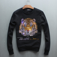 Autumn And Winter With Male Long Sleeved Cashmere Thickened Drilling Tiger Head Fashion Brand Size Warm