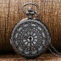 Preto Teia de aranha do vintage Relógio de Bolso com Corrente Colar Pingente Steampunk Antigo Relógio De Bolso de Quartzo