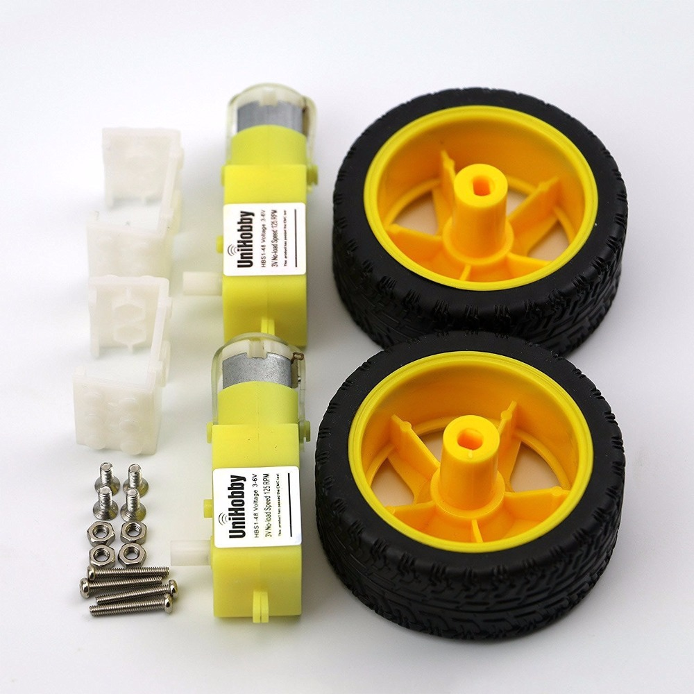 4 DC Motor 4 Robot Wheels UniHobby 3 6V Biaxial TT Motor with Plastic Tire