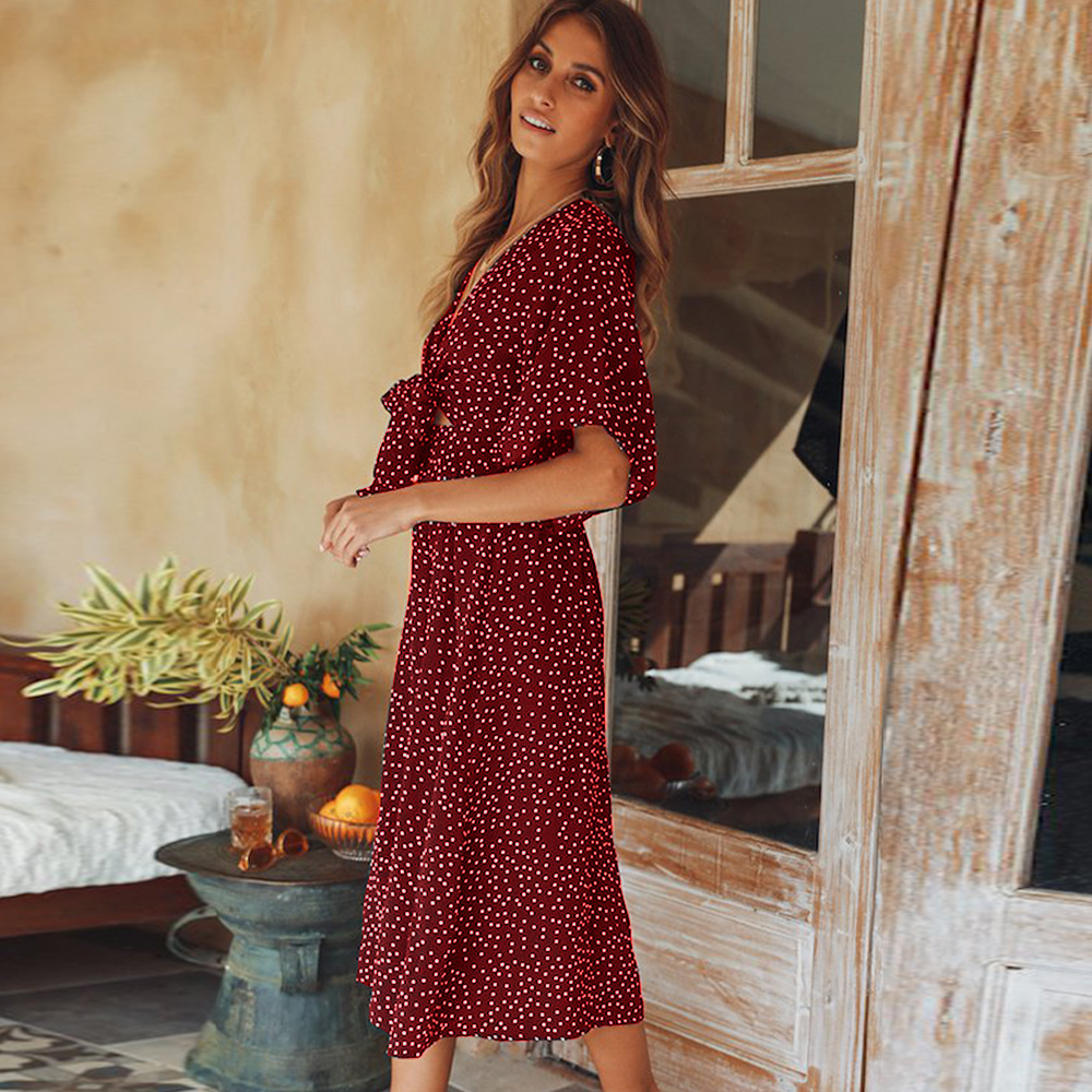 women summer casual bohemian dress Women Short Sleeve V Neck Wrap Boho Dress 4