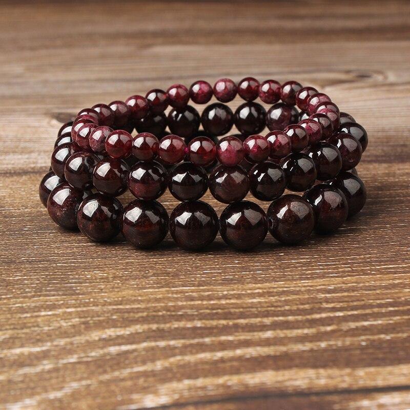LanLi bijoux de mode 4/6/8/10/12mm pierres de grenat de vin profond perles lâches Bracelet charmes Yoga hommes et femmes amulette de méditation
