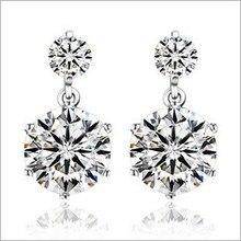 2014 RJ118 Fashionable Stud Earings 925 Sterling Silver Jewellery Double Zircon Earrings Wholesale Earring Presents for Women Giftware