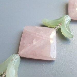 Image 2 - LiiJi Unique Natural Rose Quartzs New Jades Leaves with Jades Toggle Clasp Necklace 49cm/20