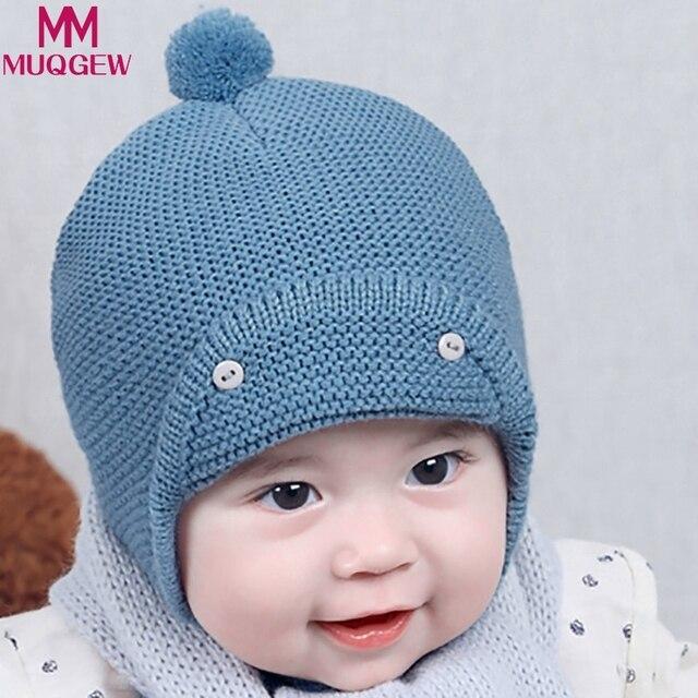78d6a98143e MUQGEW Hats for Girls Autumn Knit Baby Hats Ear Protection Boys Hats 2018 Winter  Warm Woolen Hood Ball Top Hat Ear Flaps Cap