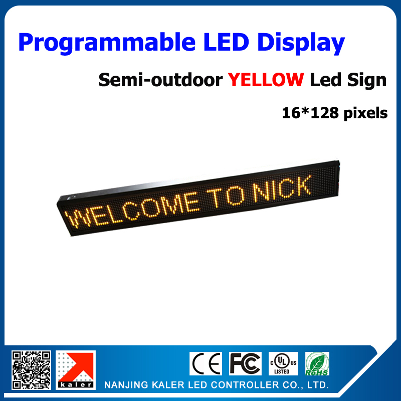 Semi-outdoor LED Display Yellow P10 LED Disaplay Module 1/4 Scan 16*128 Pixels Moving Text Led Sign Board 24*136cm